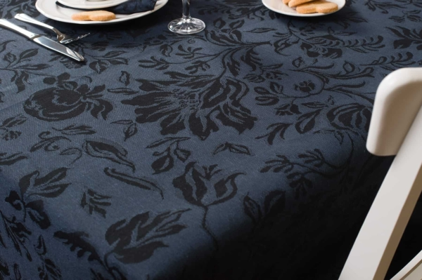 Dark blue floral jacquard linen tablecloth 2
