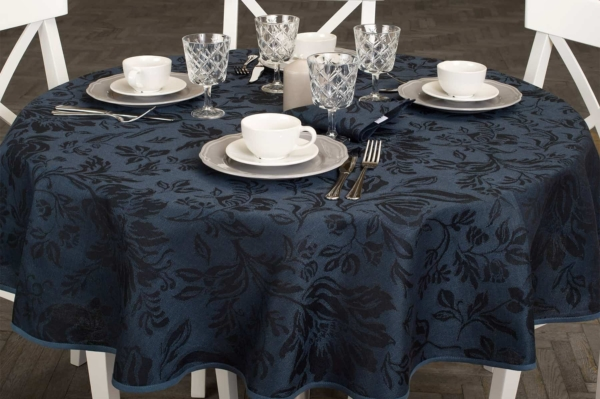 Round (oval) dark blue floral linen tablecloth 1