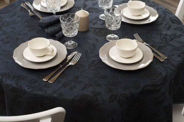 Round (oval) dark blue floral linen tablecloth 2