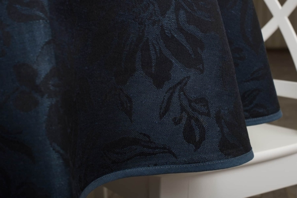 Round (oval) dark blue floral linen tablecloth 4