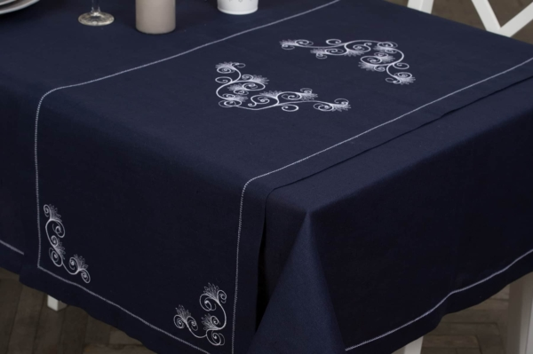 Dark blue embroidered, hemstitched linen table runner 1