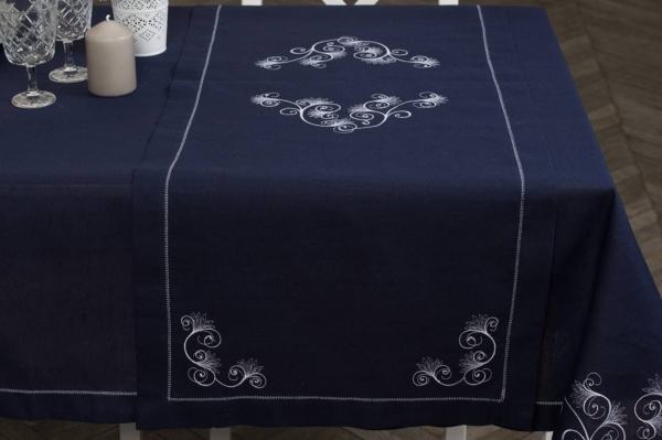 Dark blue embroidered, hemstitched linen table runner 2