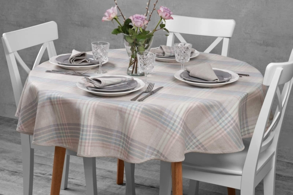 DELTA round (oval) light grey tablecloth 1