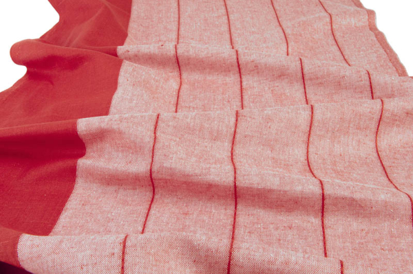 Red striped linen / cotton fabric 1