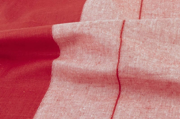 Red striped linen / cotton fabric 2