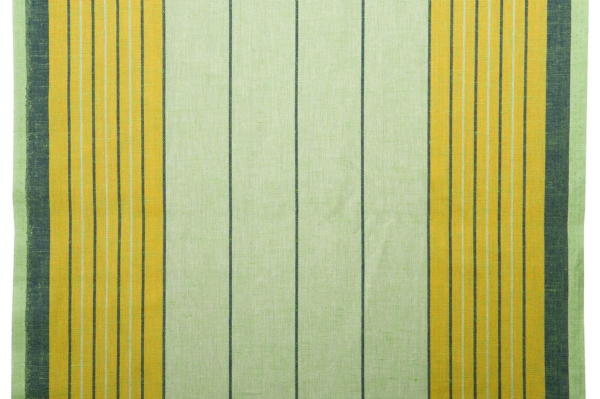 Greenish toweling linen / cotton fabric with stripes 1