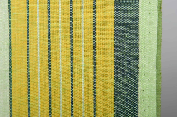 Greenish toweling linen / cotton fabric with stripes 2
