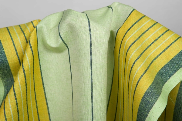 Greenish toweling linen / cotton fabric with stripes 3