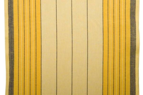 Yellow toweling linen / cotton fabric with stripes 1