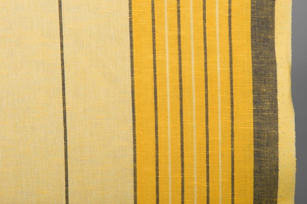 Yellow toweling linen / cotton fabric with stripes 2