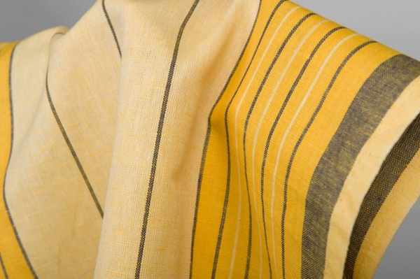 Yellow toweling linen / cotton fabric with stripes 3
