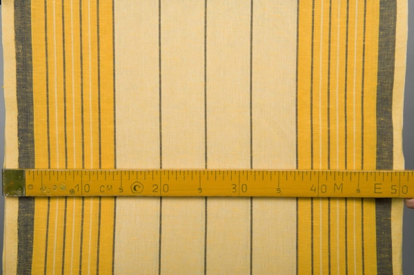 Yellow toweling linen / cotton fabric with stripes 4