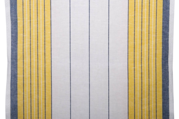 White toweling linen / cotton fabric with stripes 1