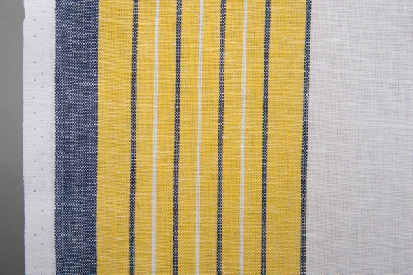 White toweling linen / cotton fabric with stripes 2