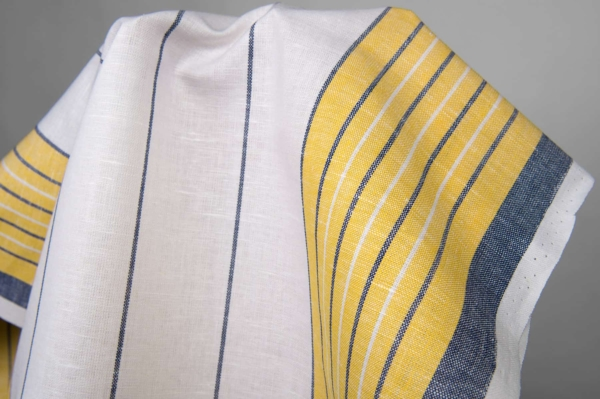 White toweling linen / cotton fabric with stripes 3