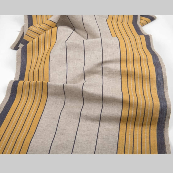 Grey linen cotton toweling fabric with yellow stripes 1