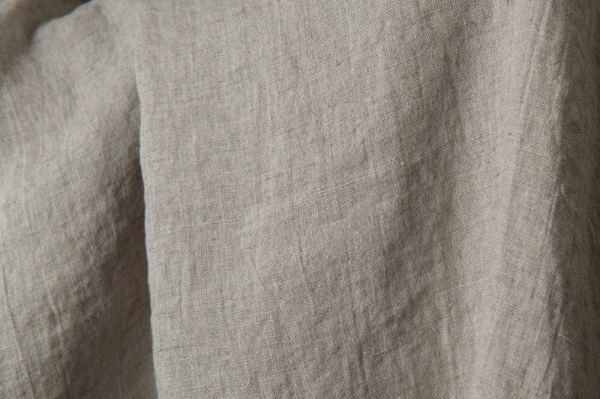 Washed linen fabric in natural grey 1