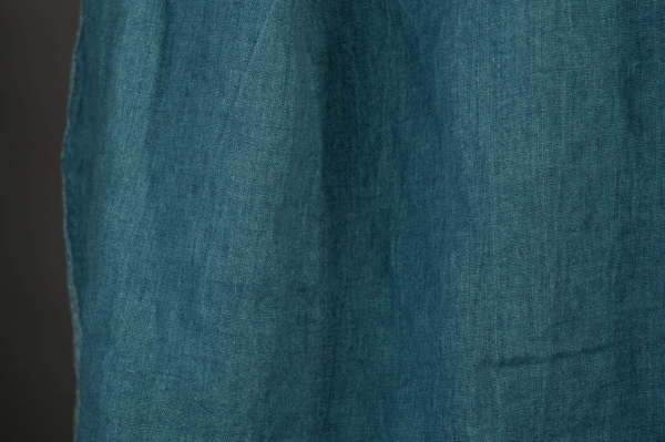 Washed linen fabric in denim blue colour 2