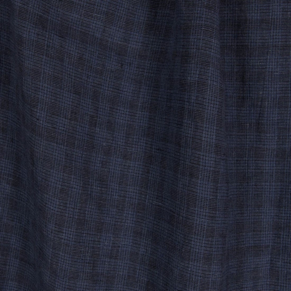 Linen fabric with blue checks, washed 1
