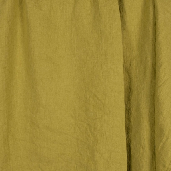 Yellow green linen fabric, washed 1