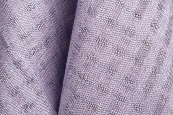 Violet checked linen fabric 1