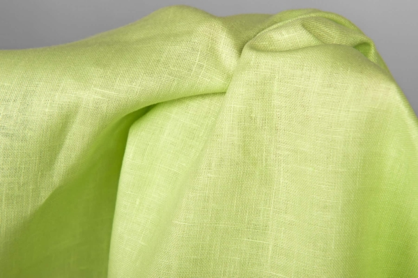 Linen fabric in lime green colour 2