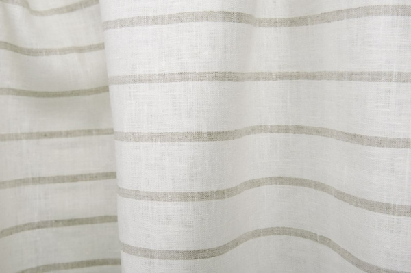 Linen fabric, white with grey stripes 1