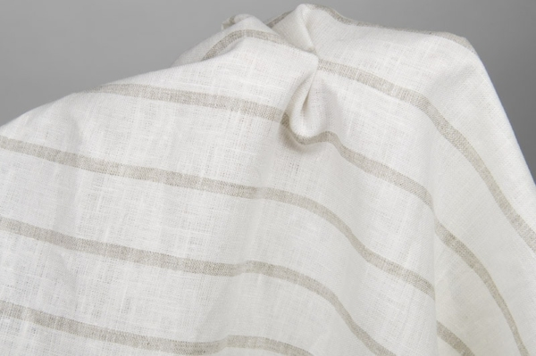 Linen fabric, white with grey stripes 2