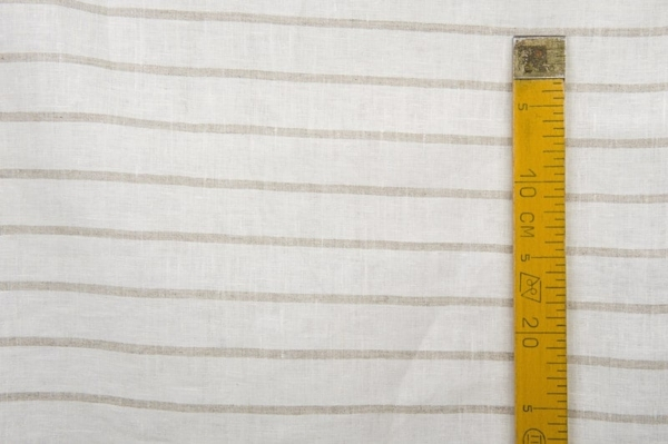 Linen fabric, white with grey stripes 3