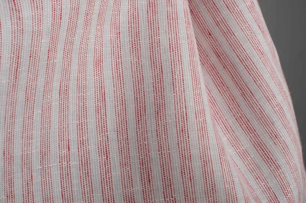 White linen fabric with red stripes 3