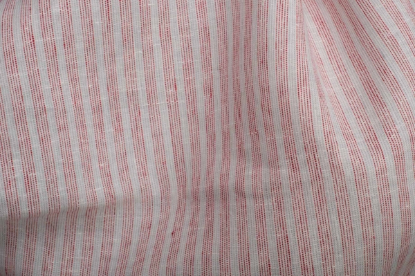 White linen fabric with red stripes 1