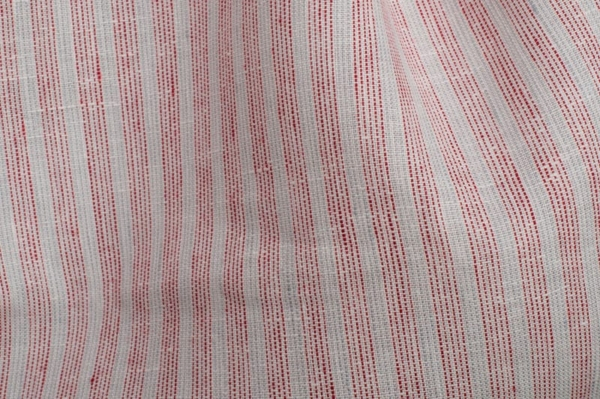 White linen fabric with red stripes 2
