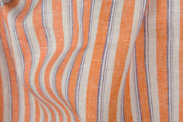Linen fabric with orange stripes 1