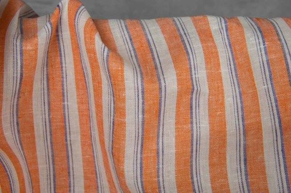 Linen fabric with orange stripes 2
