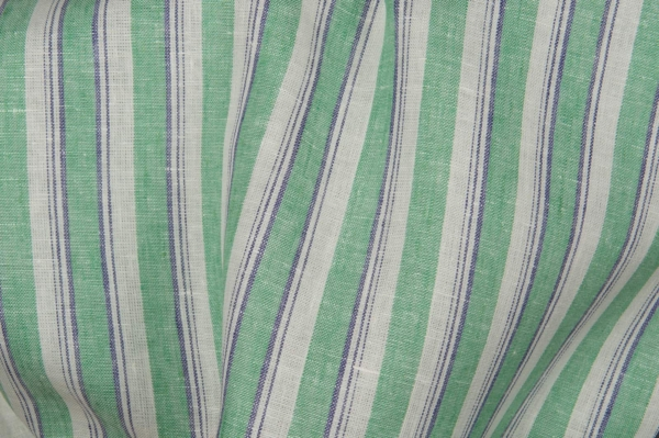 Linen fabric in green stripes 1