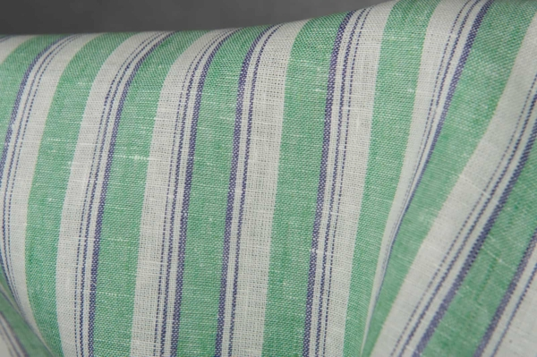 Linen fabric in green stripes 2