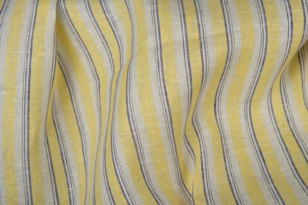Linen fabric in yellow stripes 1