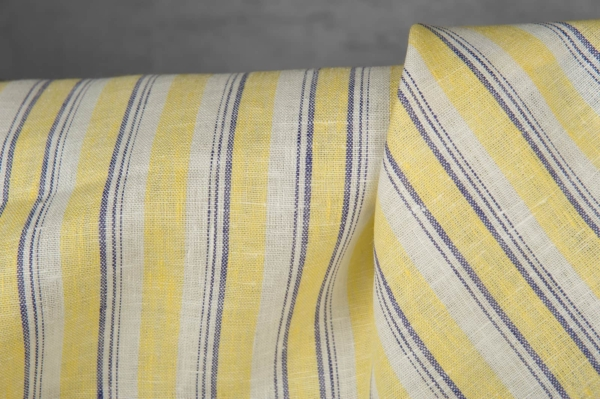 Linen fabric in yellow stripes 2