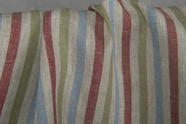 Linen fabric with multicoloured stripes 2