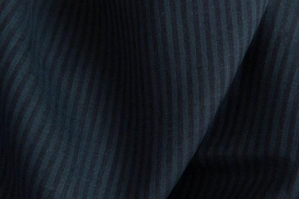 Linen fabric with blue and black stripes 1