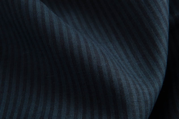 Linen fabric with blue and black stripes 2