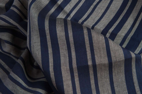 Linen fabric in blue and grey stripes 1