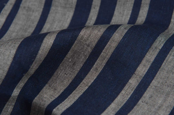 Linen fabric in blue and grey stripes 2