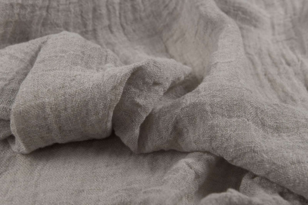 Natural grey transparent linen fabric, washed 1