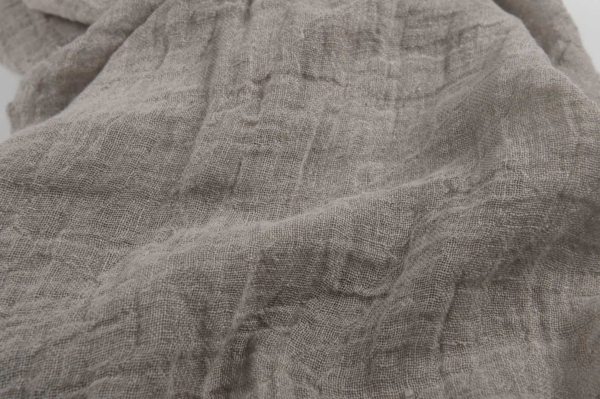 Natural grey transparent linen fabric, washed 2