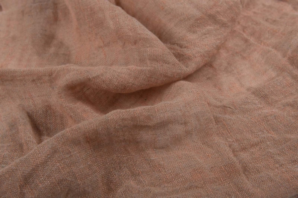 Greyish beige transparent linen fabric, washed 1