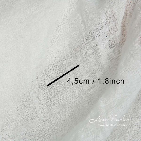 Off white transparent linen fabric with azure diamonds, washed 5