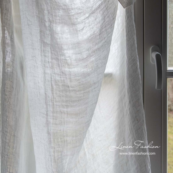 Off white transparent linen fabric with azure diamonds, washed 6