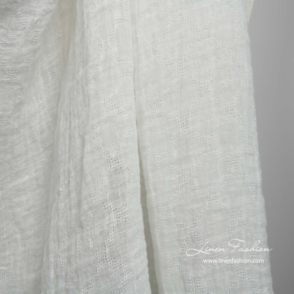 Off white transparent linen fabric with azure diamonds, washed 1