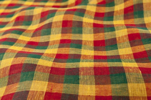 Colourfull checked transparent linen fabric 1